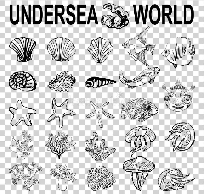 A set of sketches of the inhabitants of the underwater world. different types of shells, corals, starfish, fish jellyfish in diffe royalty free illustration