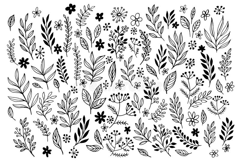Set of sketches and line doodles hand drawn royalty free illustration
