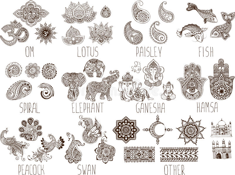 Set of sketches mehndi vector illustration