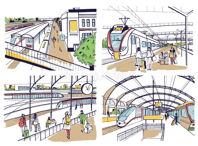 Set of sketches with railway station. Passengers on platform, waiting, arriving and departing train. Hand drawn colorful. Vector illustration vector illustration