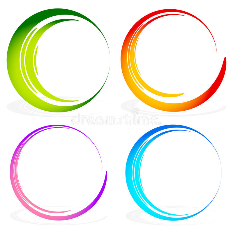 Set of sketchy, scribble circles. Hand drawn, ink circles in 4 widths - Royalty free vector illustration stock illustration