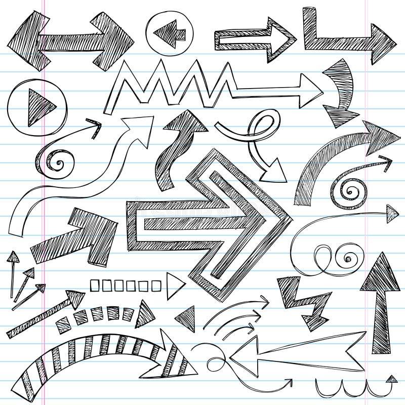 set sketchy vektor för pilklotteranteckningsbok royaltyfri illustrationer