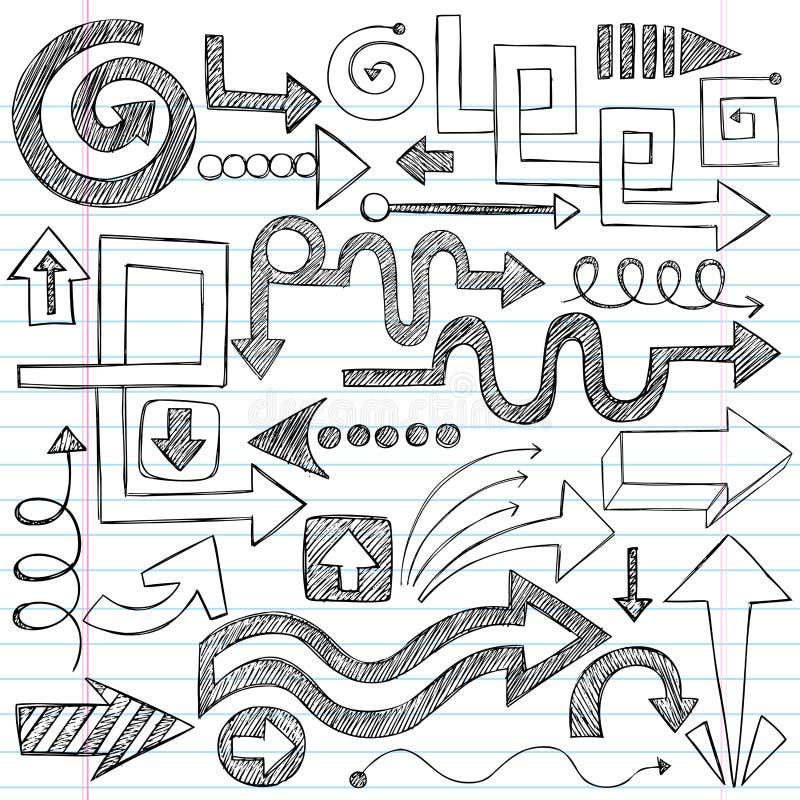 set sketchy vektor för pilklotteranteckningsbok stock illustrationer