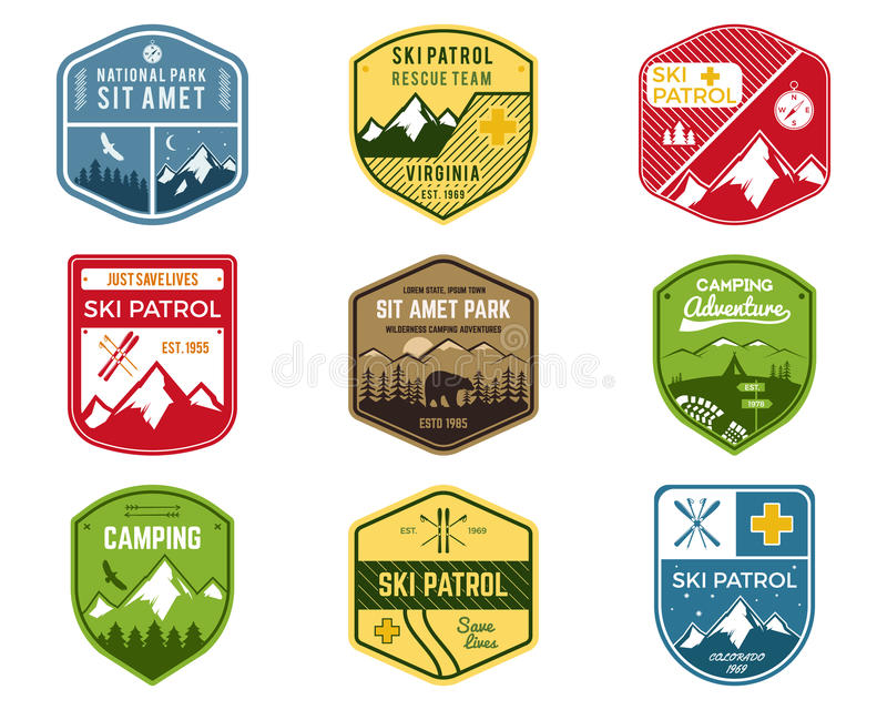 Set of Ski Club, Patrol Labels. Vintage Mountain stock illustration