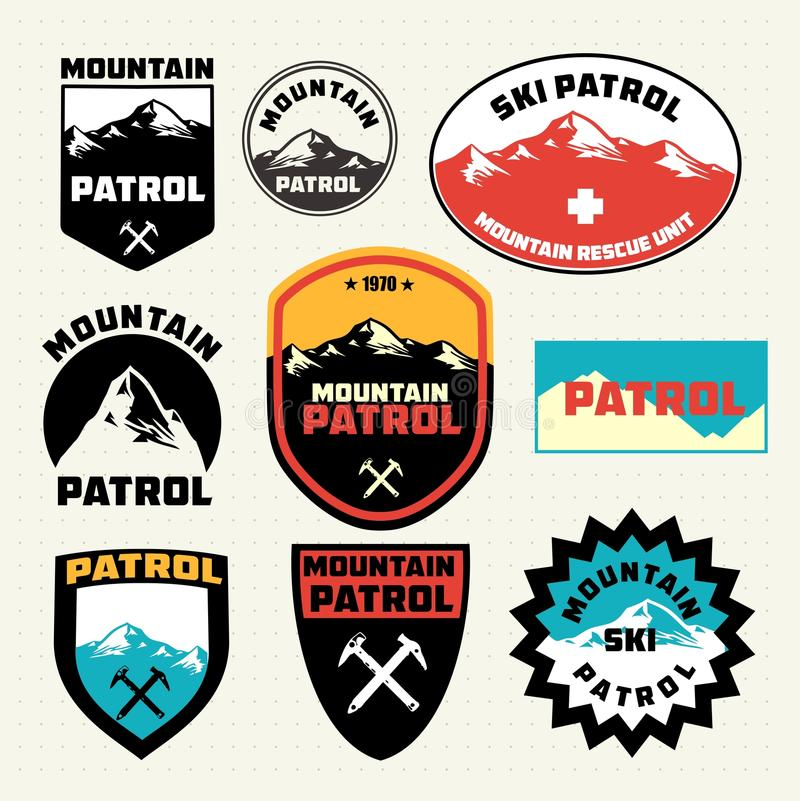 Set of ski patrol mountain badges and logo patches royalty free illustration