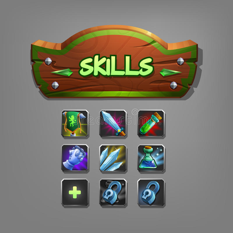 Set of skills for game. Elements of interface. Vector illustration royalty free illustration
