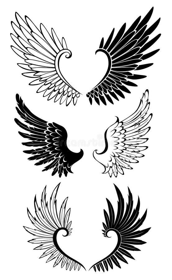 Set skrzydła dla tatuażu ilustracji