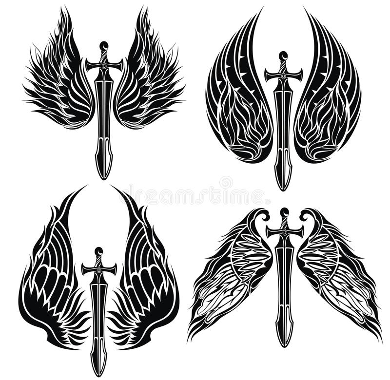 Set skrzydła i kordziki royalty ilustracja