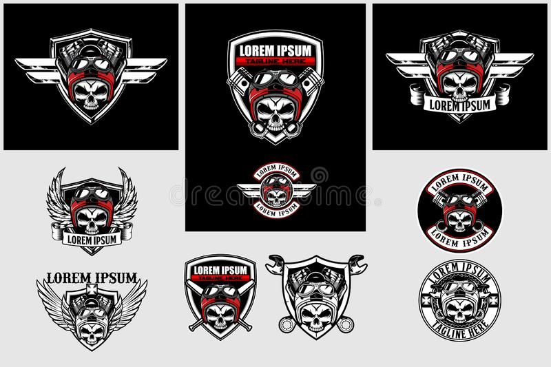 Set of skull biker with v-twin engine and shield vector logo template royalty free illustration