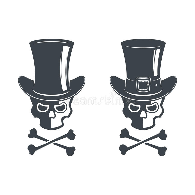 Set of skull. Design elements, icons, emblems and badges on white background. Cylinder hat with ribbon in vector illustration