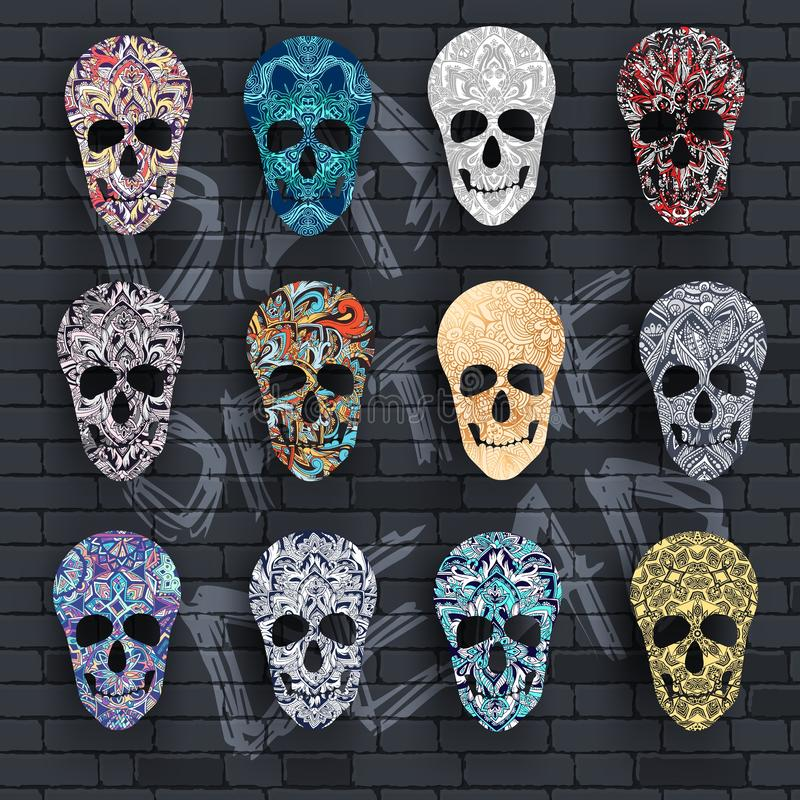 Set skull for the illustrations concept on day of the dead. Vector template colorful abstract decorative ornament design.  stock illustration