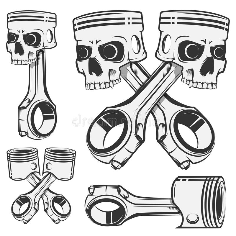Set of skull piston for emblems,design tattoo,labels.sport royalty free illustration