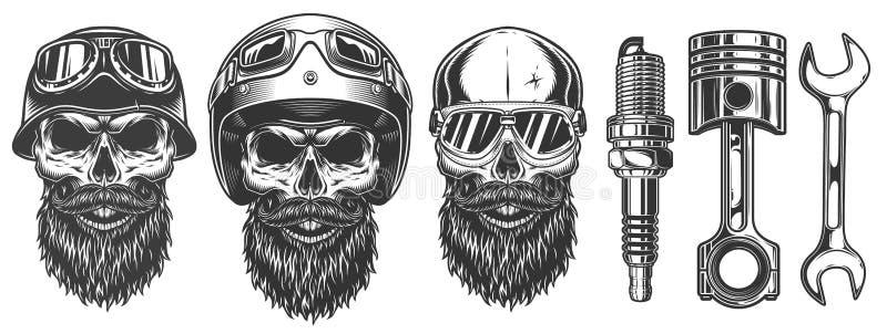 Set of skulls in the biker equipment. Vector illustraiton royalty free illustration