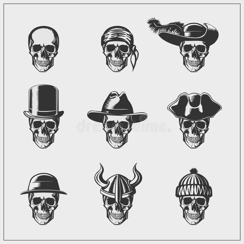 Set skulls in hats. stock illustration