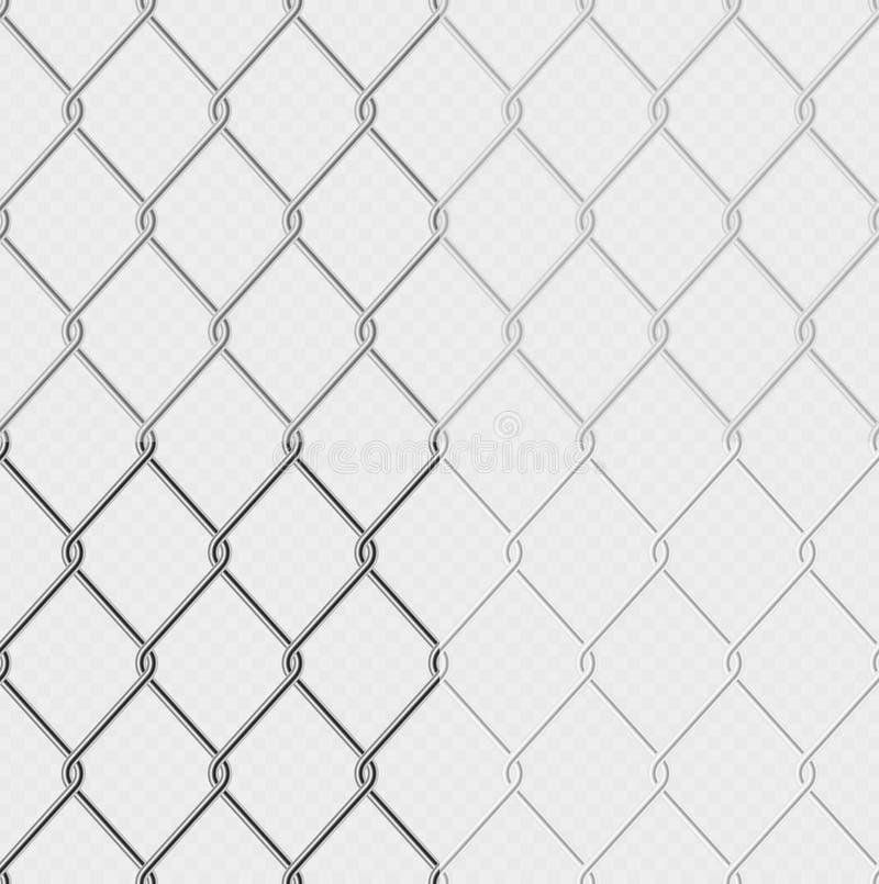 Set skutek - łańcuszkowego połączenia ogrodzenia drucianej siatki stalowy metal odizolowywający na przejrzystym tle Graficzny ele ilustracji