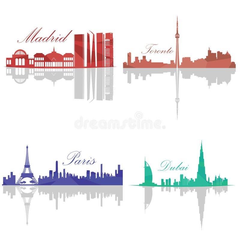 Set of Skylines. Madrid Toronto Paris Dubai Vector illustration royalty free illustration