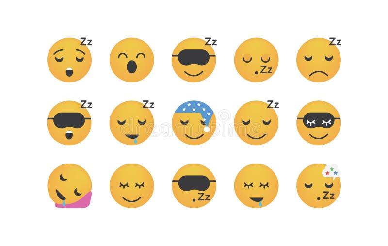 Set of sleep emoticon vector royalty free illustration