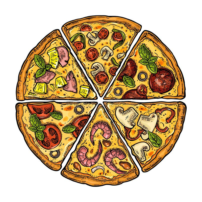 Set slice pizza Pepperoni, Hawaiian, Margherita, Mexican, Seafood, Capricciosa. Vintage vector engraving illustration for poster,. Set slice pizza Pepperoni stock illustration