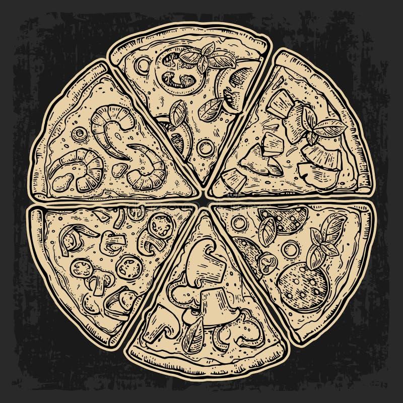Set slice pizza Pepperoni, Hawaiian, Margherita, Mexican, Seafood, Capricciosa. Vintage vector engraving illustration royalty free illustration
