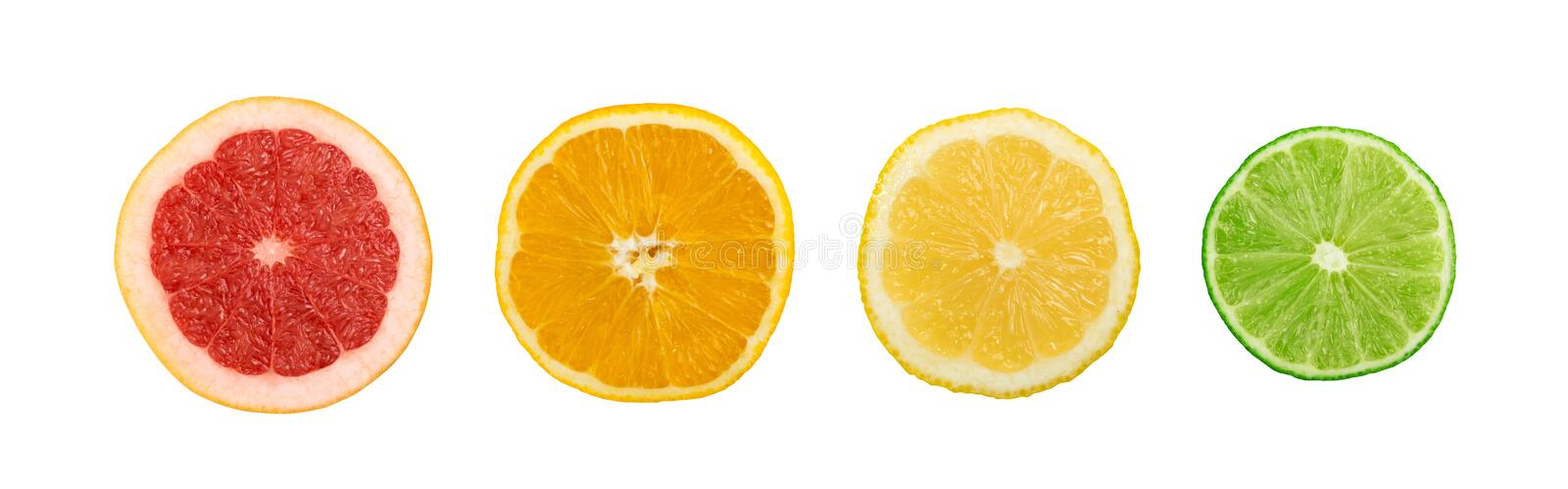 Set of sliced lemon, orange, lime and red grapefruit. Line of sliced lemon, orange, lime and red grapefruit flat lay and top view. Macro photo of citrus fruits stock photography