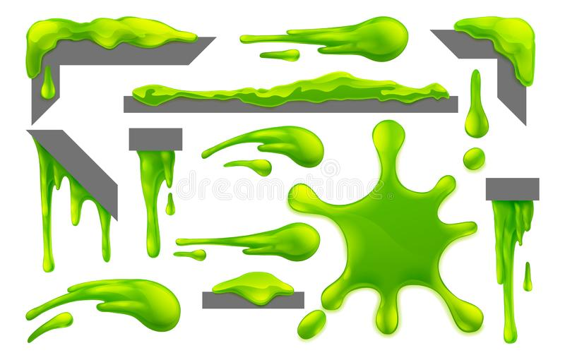 Slime Green Goo Messy Blobs Splats Drips and Drops vector illustration
