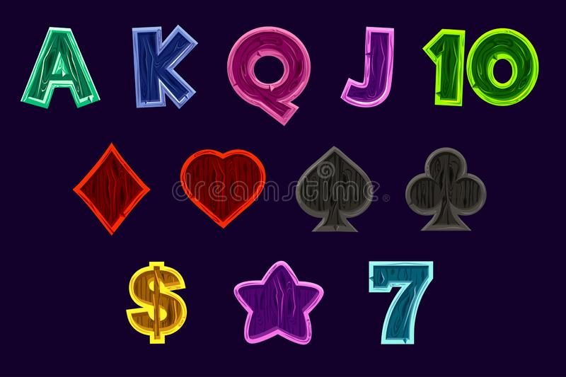 Set Slot machine icons. Gaming icons of card symbols for slot machines or casino in wooden texture. Game casino, slot stock illustration
