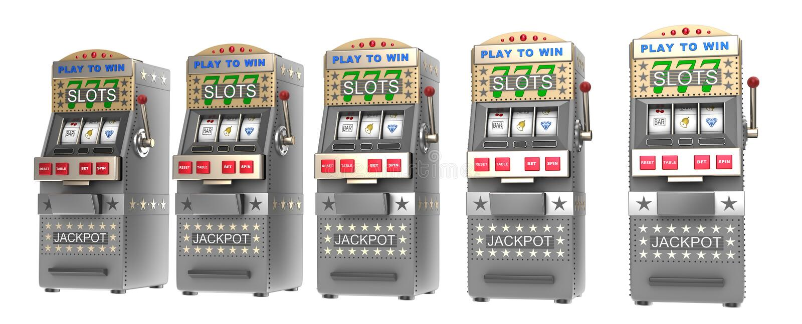 Set of slot machines vector illustration