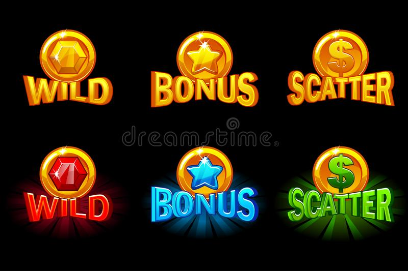 Set of slots icon templates. Gold and color icons wild, bonus and scatter. For game, slots, game development. stock illustration