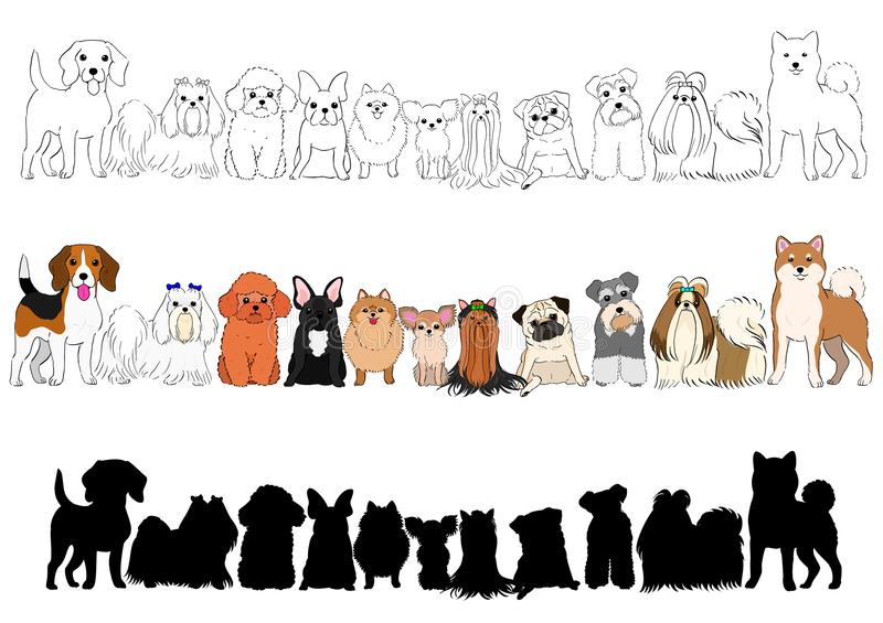 Set of small dogs hand drawn borders royalty free illustration