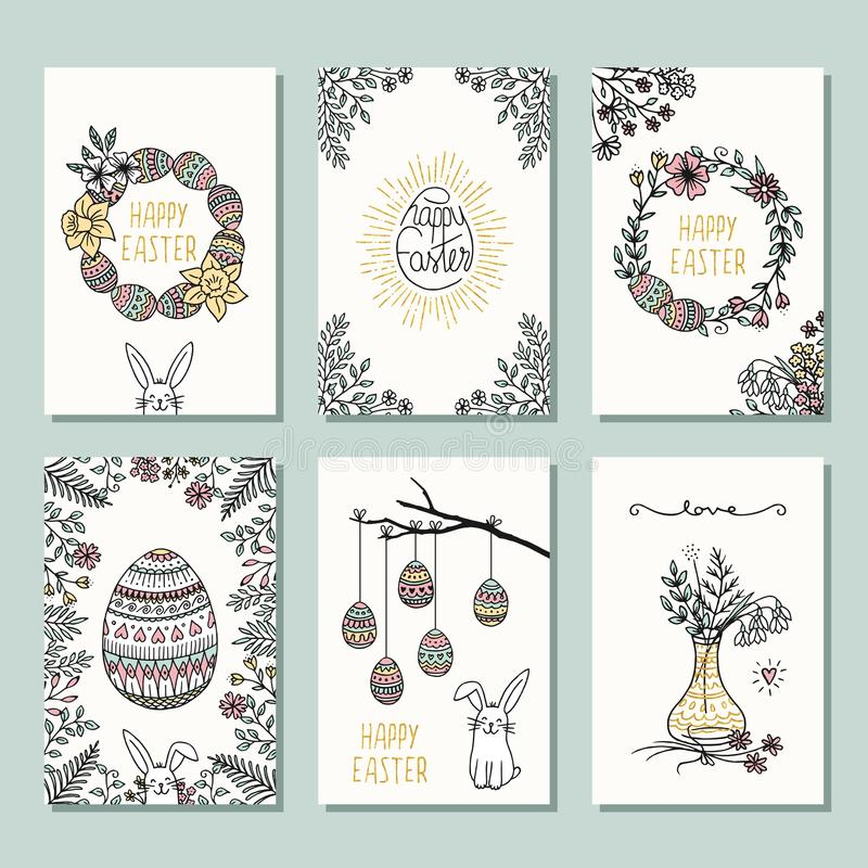 Download Set Of 6 Small Easter Cards Stock Vector