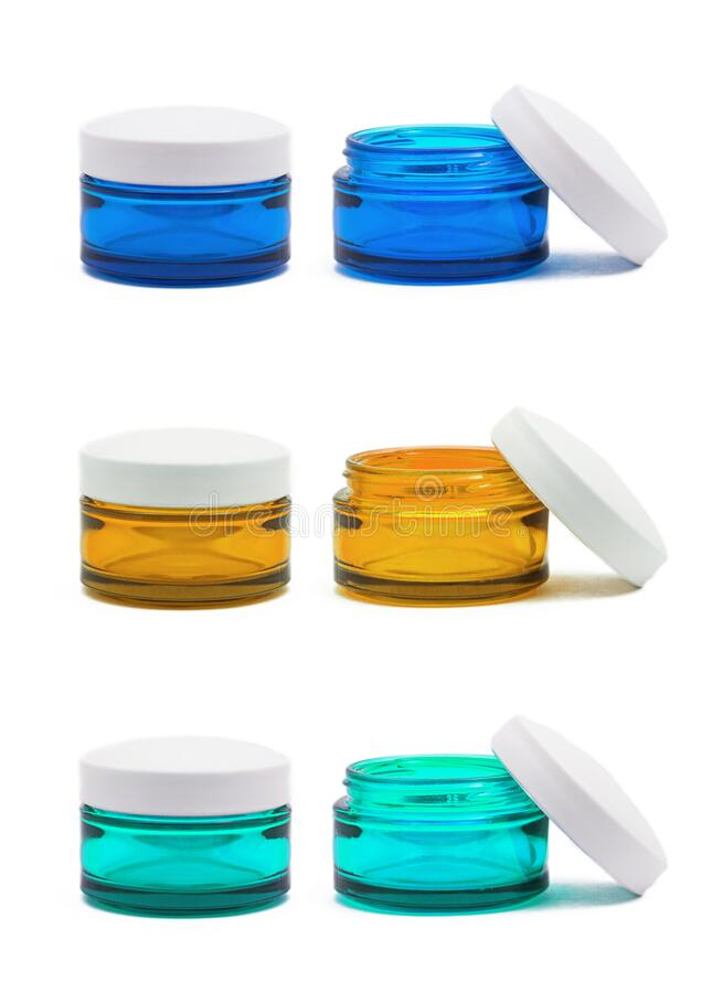 Cosmetic jars isolated royalty free stock image