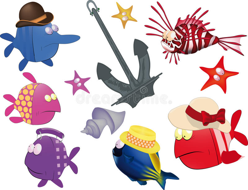 Set of small fishes and anchor royalty free illustration