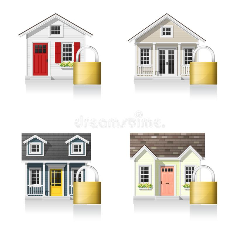 Set of small houses and padlocks isolated on white background stock illustration
