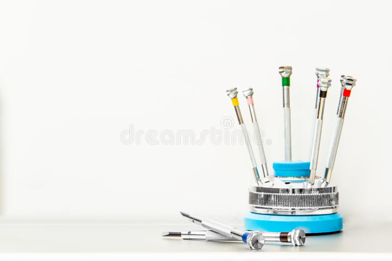 A set of small screwdrivers stock photos