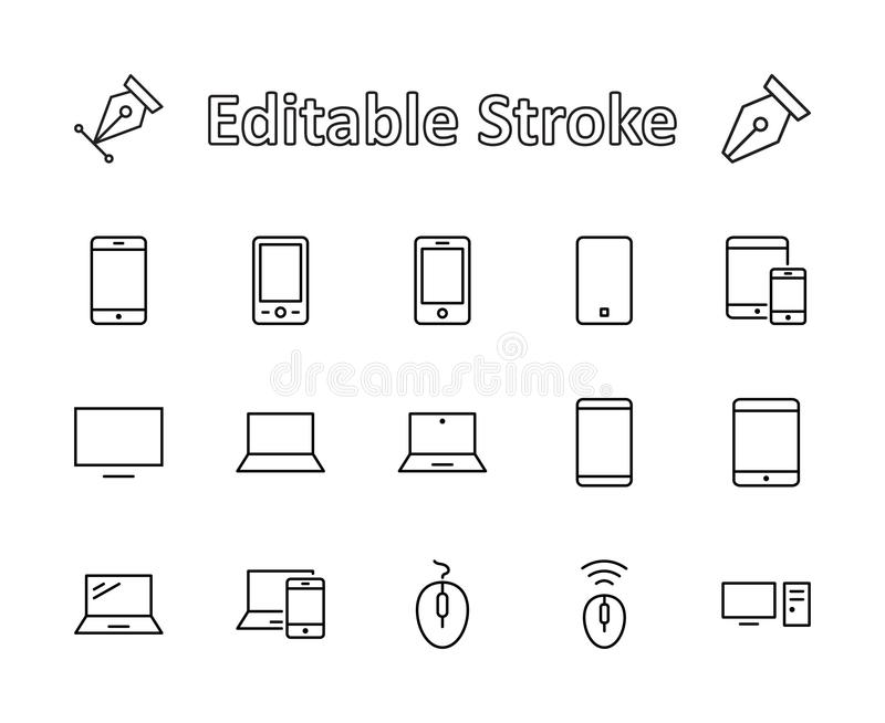 Set of smart devices and gadgets, computer equipment and electronics. Electronic devices icons for web and mobile vector. Line icon. Editable move. 32x32 pixels royalty free illustration