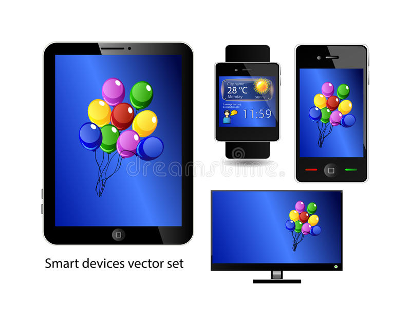 Set of smart devices. Tablet, smart phone, smart watch and smart television. Icons over white background vector illustration