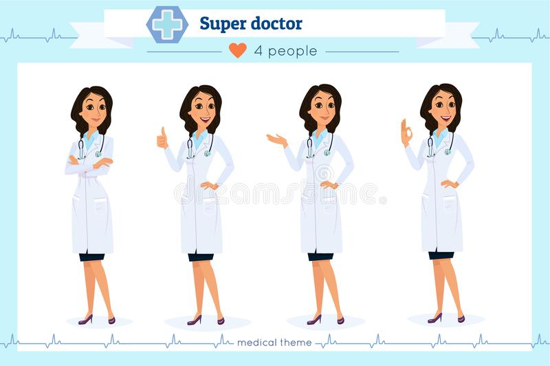 Set of smart doctor presenting in various action, isolated on white.Flat cartoon style.Hospital medical team.People character stock illustration