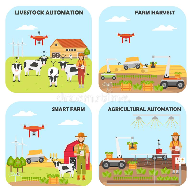 Set of Smart farm backgrounds. Agricultural and livestock automation vector illustration