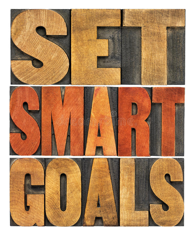 Set smart goals word abstract. Set smart goals concept - isolated word abstract in vintage letterpress wood type royalty free stock photography