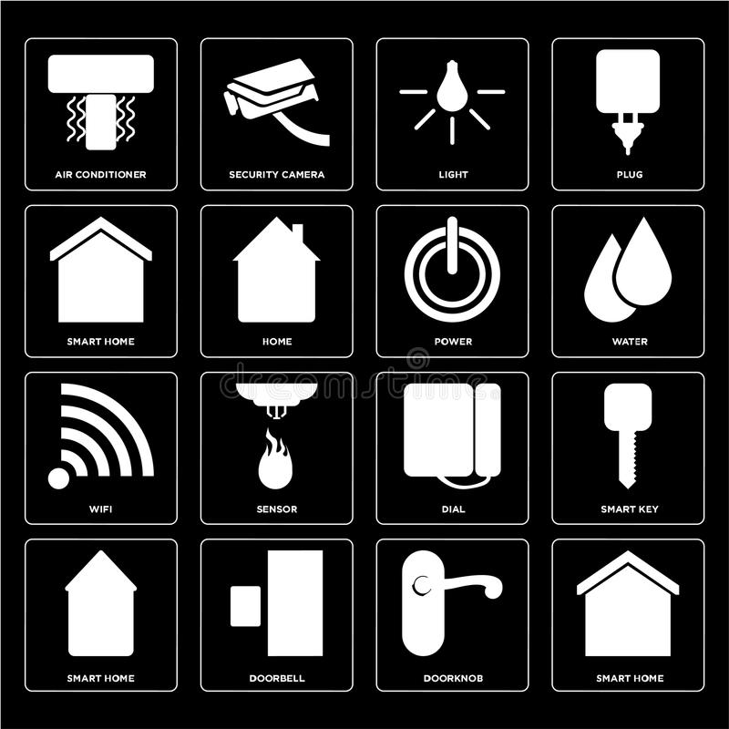 Set of Smart home, Doorknob, Dial, Wifi, Power, Light, Air conditioner icons royalty free illustration