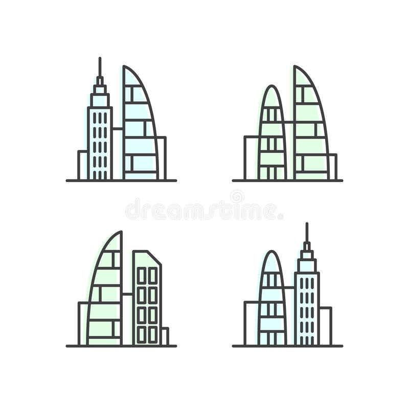 Set of Smart Modern City, New Eco District, Skyscraper Town Concept, One page web site background vector illustration