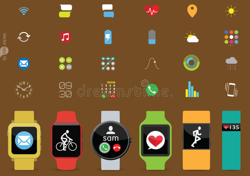 Set of Smart Watches Vector Illustration royalty free illustration