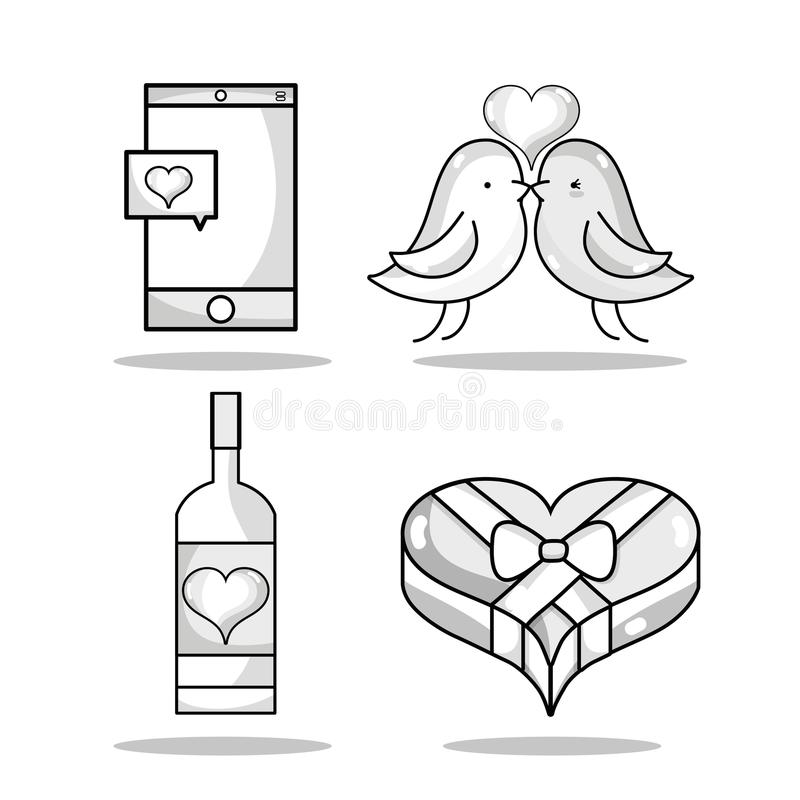 Set smartphone with heart and couple dove lover. Vector illustration royalty free illustration