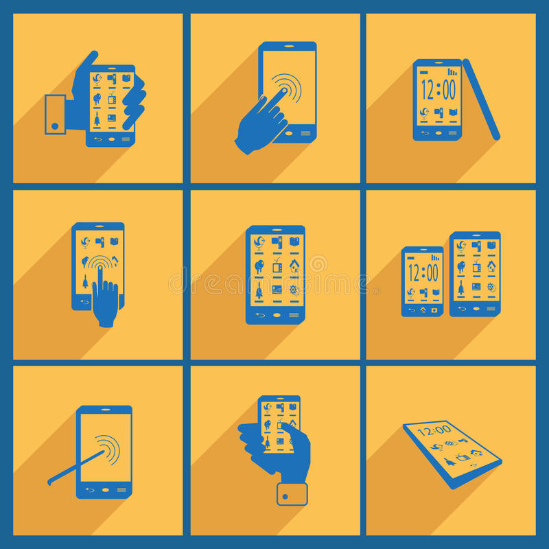 Set with smartphone icons. stock illustration