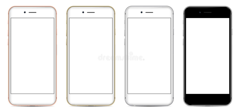 Set Smartphones z pustym ekranem w cztery kolorach ilustracja wektor
