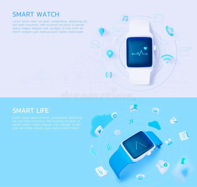 Set_of_Smartwatch_Smartlife_3d_style 库存例证