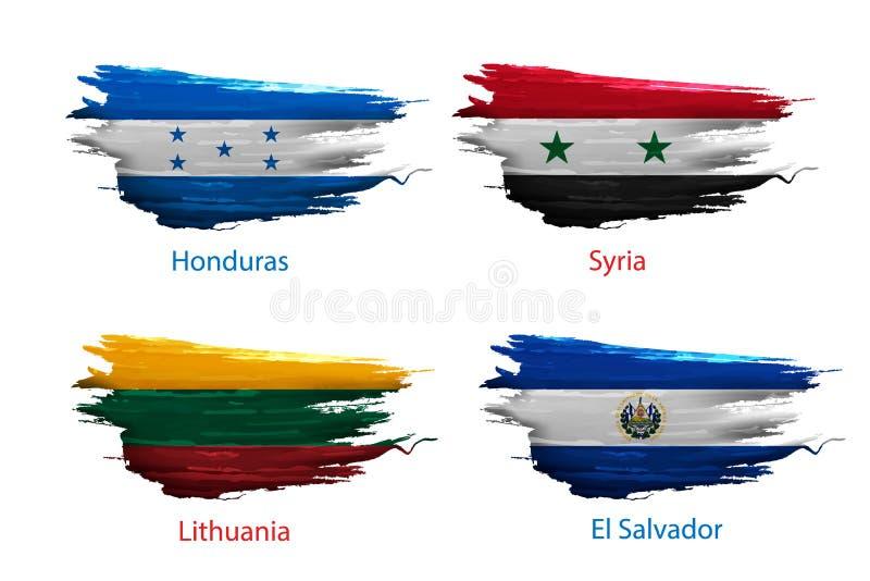 Set smear paint of flag on white background. Set smear paint of flag country on white background vector illustration