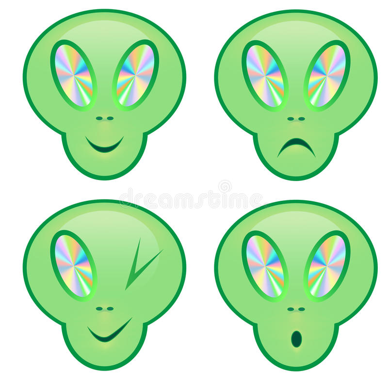 Set of smile alien, sad royalty free stock photos