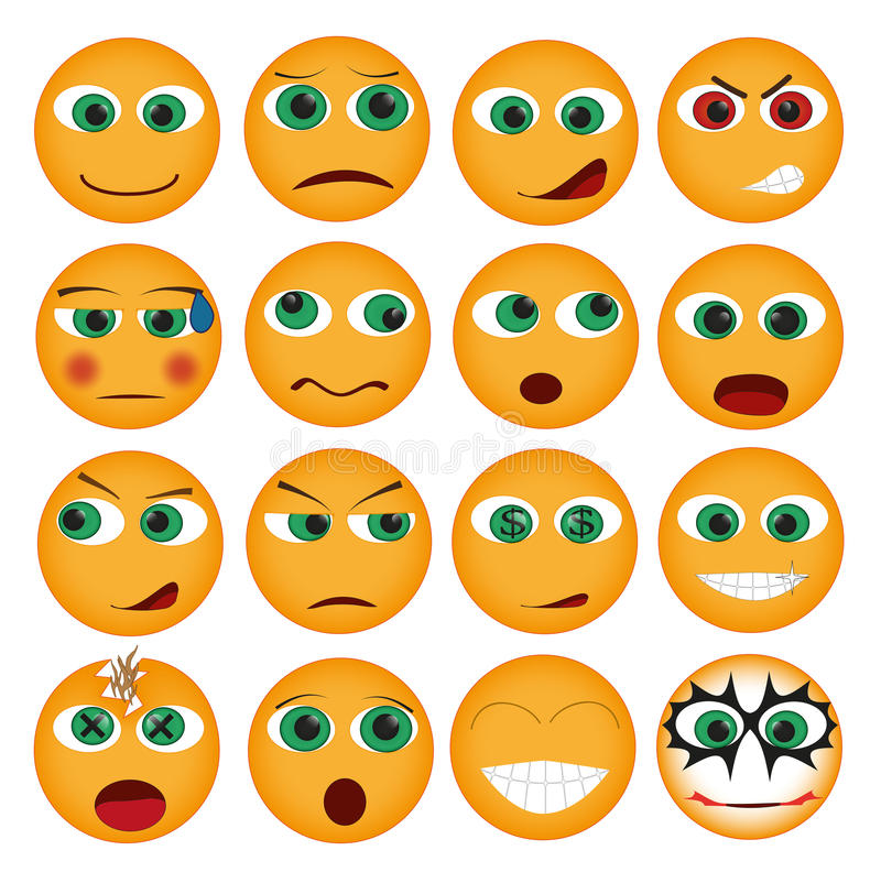 Download Set of Smiles stock vector. Image of confused, icons - 26607706