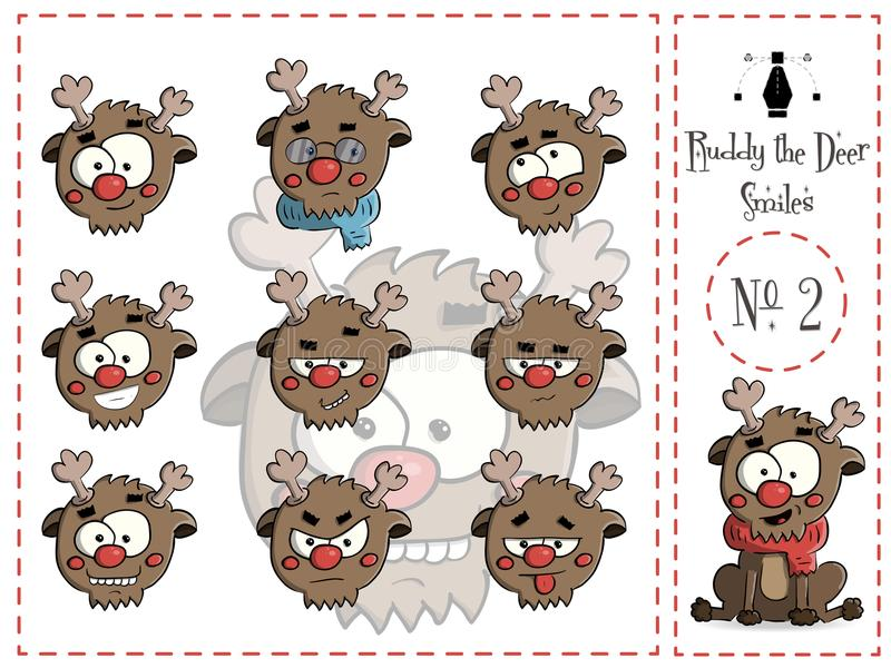 Set of smiles Ruddy the deer 2 vector stock illustration